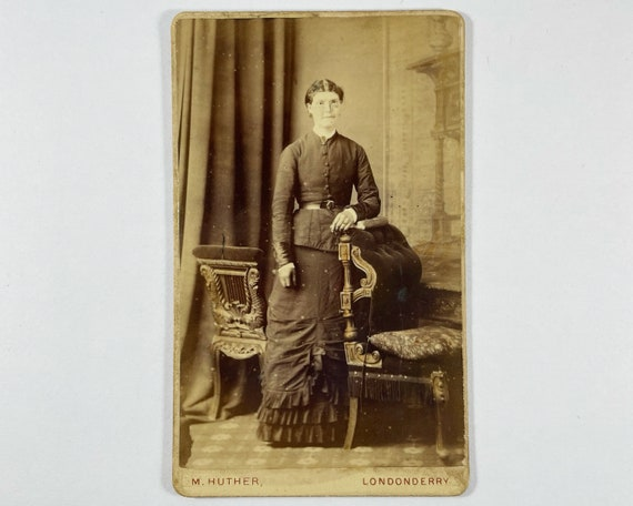 Antique Carte de Visite CDV Photograph of Victorian Woman from Londonderry, Ireland - Photographer Mary Huther