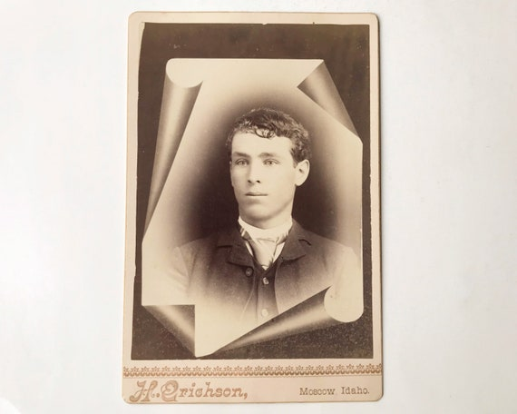 Antique Victorian Cabinet Card of Portrait of Young Man by H. Erichson, Photographer, Moscow, Idaho