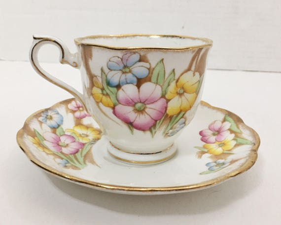 Vintage Royal Albert Teacup and Saucer - Petunia - Blue Yellow and Pink Floral Pattern  - Countess Shape Cup