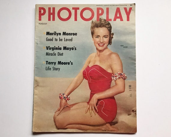 Photoplay August 1954 - Cover Terry Moore - Vintage Movie Magazine - Inside Marilyn Monroe, Richard Widmark, Burt Lancaster & Virginia Mayo