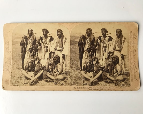 Antique J.T. Jarvis  Stereoview - Bedouin Robbers, Road to Jericho, Palastine - James M. Davis - Copyright 1896