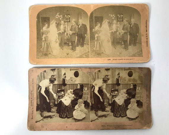 Antique B. W. Kilburn Sepia Stereoviews - Set of 2 - Humor & Marriage - Stereo Cards - James M. Davis - 1892 and 1899