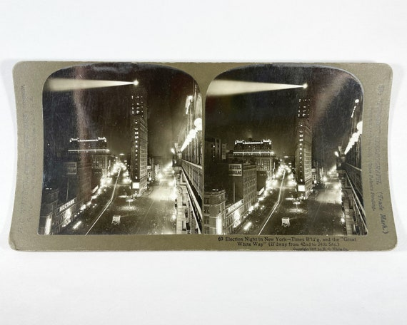 Antique H. C. White Stereoview - Election Night in New York City, Times Building and the Great White Way (Broadway)