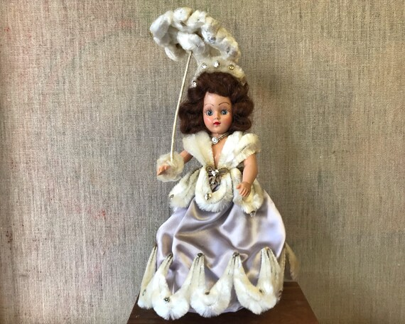 Vintage Hard Plastic Duchess Doll - Hand Made Southern Belle Dress with Sequins and Pipe Cleaners