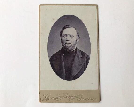 Antique Carte de Visite CDV Danish Photograph of Victorian Man, Silkeborg, Denmark