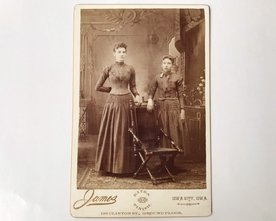 Antique Cabinet Card of Two Sisters by James, Photographer, Iowa City, Iowa