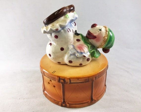 Vintage Made in Japan Clown on a Drum Salt & Pepper Shakers - Circus Theme Novelty Shakers