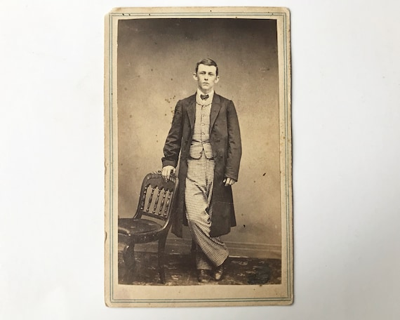 Antique Carte de Visite CDV Photograph of Victorian Man with Checked Suit, Brooklyn, New York