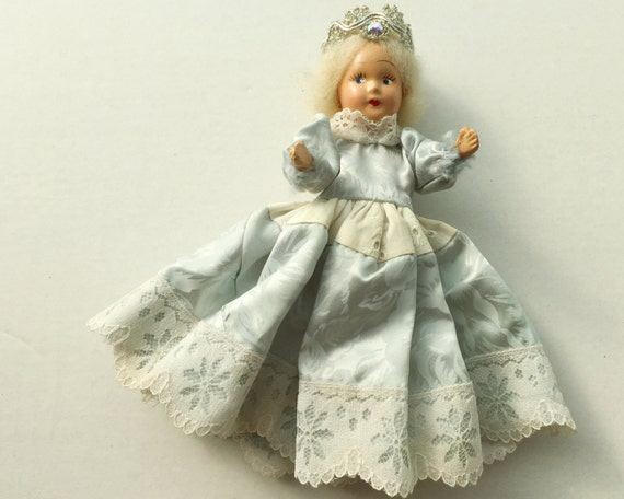 Vintage Composition Doll - While Haired Princess Doll in Light Blue Dress - Queen Character