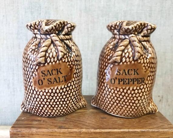 Vintage Made in Japan Sack o' Salt & Sack o' Pepper Shakers - Novelty Shakers