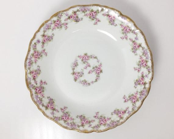 Antique Bawo & Dotter Elite Works Limoges Coupe Soup Bowl - White Paste Porcelain with Pink Roses and Violets - Limoges France