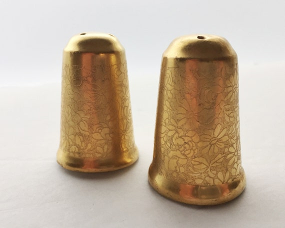 Vintage Wheeling Decorating Co. Gold Enamel on Porcelain Salt & Pepper Shakers - Floral Pattern