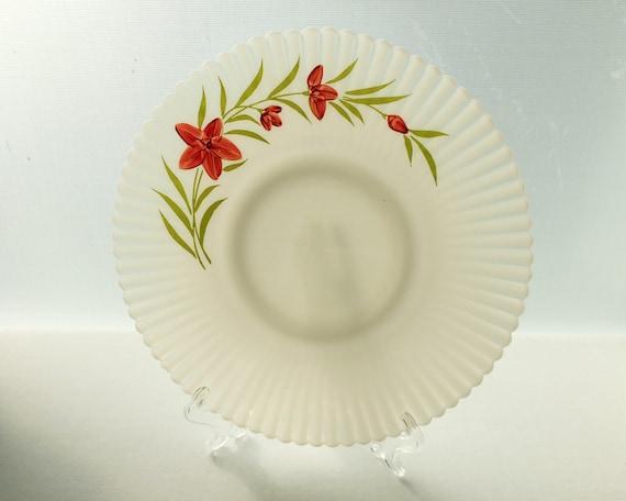 Vintage Depression Glass - Florette Petalware Cake Plate by Macbeth Evans - Monax White Opal Glass
