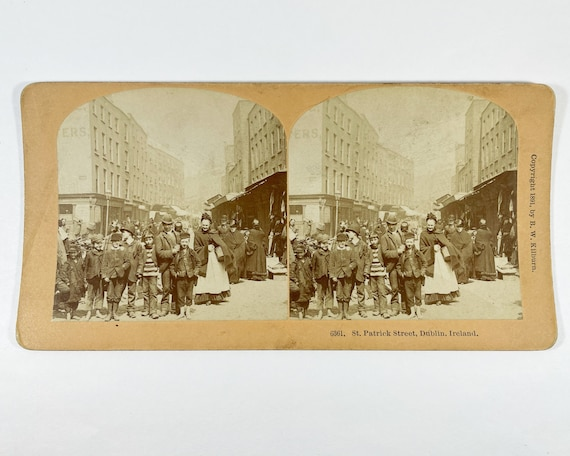 Antique B. W. Kilburn Stereoview - St. Patrick Street, Dublin, Ireland, Copyrighted 1891