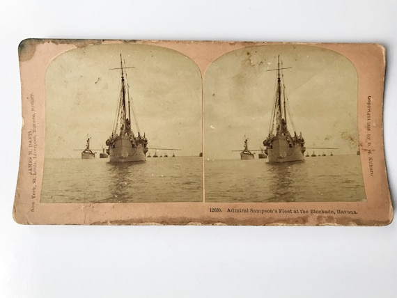 Antique B. W. Kilburn Sepia Stereoview - Admiral Sampson's Fleet at the Blockade, Havana - Spanish-American War c. 1898