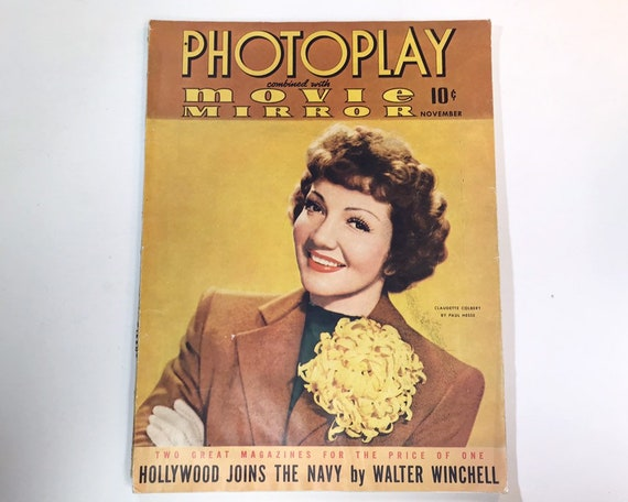 Photoplay November 1941 - Cover Claudette Colbert - Vintage Movie Magazine - Inside Robert Taylor, Lucille Ball, Loretta Young