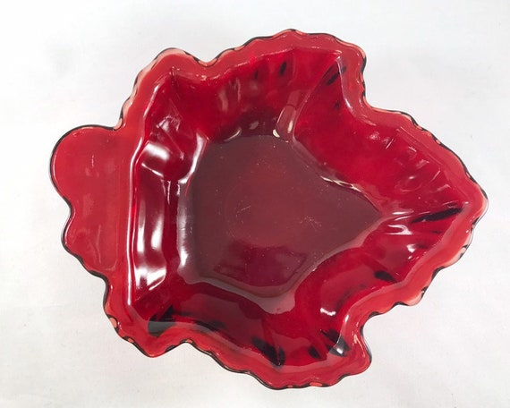 Vintage Anchor Hocking Royal Ruby Maple Leaf Dessert Bowl - Rich Saturated Color - Novelty Fifties Glass - Trinket Dish - Relish