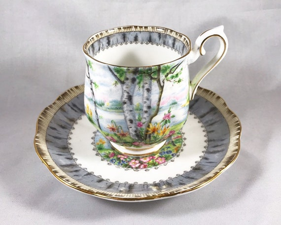 Vintage Royal Albert Silver Birch Bone China Demitasse and Saucer - Countess Shape