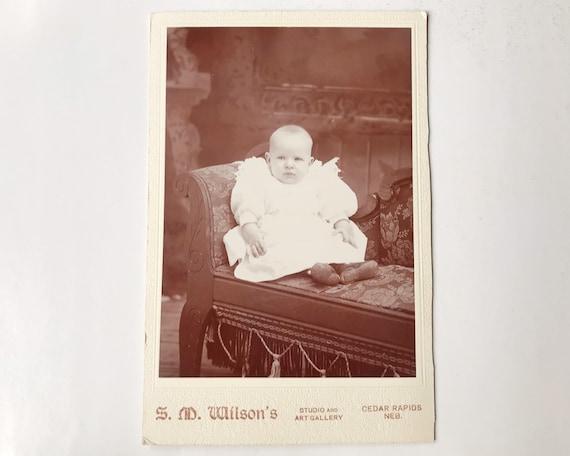 Antique Cabinet Card of Portrait of Baby, S. M. Wilson's, Cedar Rapids, Nebraska