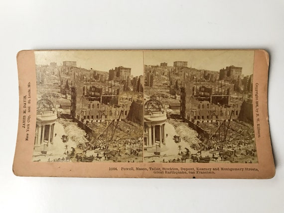 Antique B. W. Kilburn Stereoview - San Francisco Earthquake View- James M. Davis - Copyright 1906