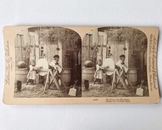 """Antique Stereoview Children with Grinding Stone """"He Don't Like His Pants"""", Littleton View Co., Publishers, Copyright 1891"""
