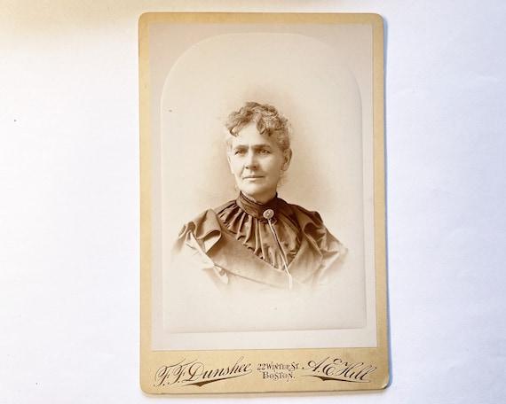 Antique Cabinet Card of Portrait of Older Woman, Boston, Massachusetts