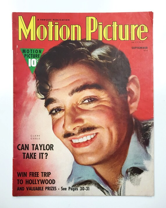 Motion Picture Magazine Sep 1938 - Cover Clark Gable Vintage Movie Magazine - Inside Fred Astaire, Ginger Rogers, Norma Shearer, Hedy Lamarr