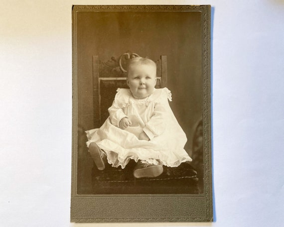 Antique Cabinet Card Portrait of an Incredibly Cute Baby