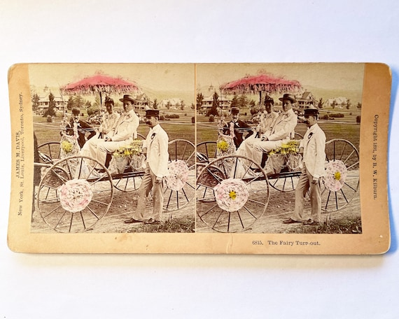 """Antique B. W. Kilburn Sepia Stereoview - 6815 """"The Fairy Turn-Out"""" Festive Buggy with Gaily Dressed Couple,1891"""