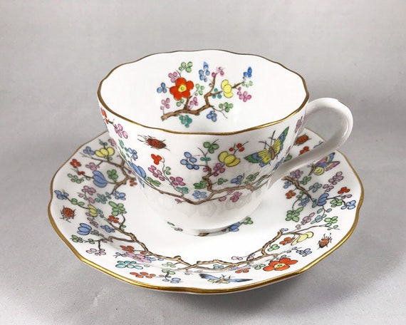 """Copeland Spode """"Shanghai"""" Teacup and Saucer with Blossoms and Insects"""