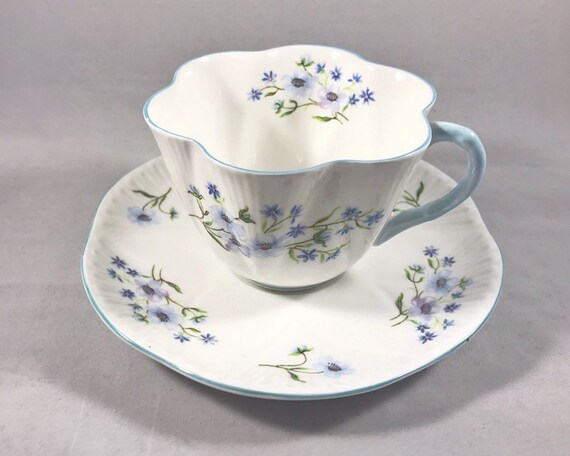 Vintage Shelley Blue Rock Teacup and Saucer - Pretty Blue Floral Pattern on White Bone China