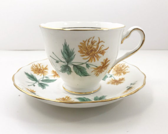 Vintage Colclough Yellow Chrysanthemum Teacup and Saucer - Fifties - English Bone China
