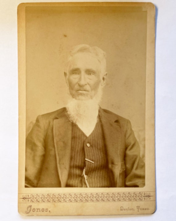 Antique Cabinet Card of Portrait of Old Man c. 1878 with Chin Strap Beard, Denton, Texas