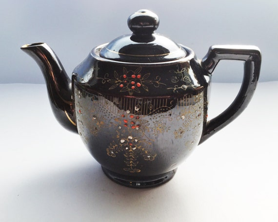 Vintage Brown Glaze Teapot - Made in Japan - Red Clay Hand Painted Raised Decoration