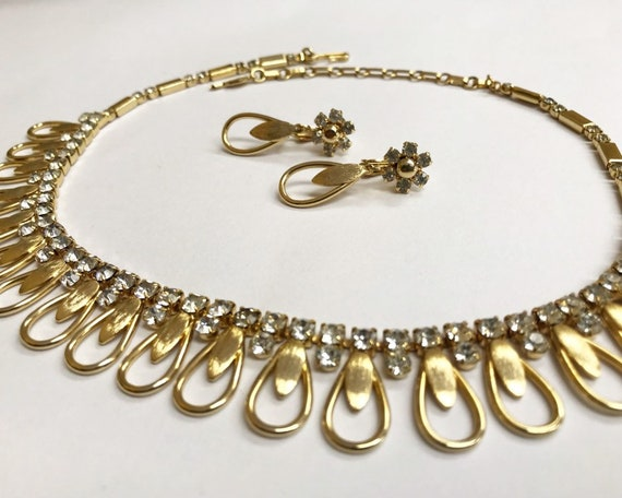 Vintage Signed Mid Century Sarah Coventry Jewelry Necklace and Earring Set - Gold Tone & Swarovski Crystal Diamante
