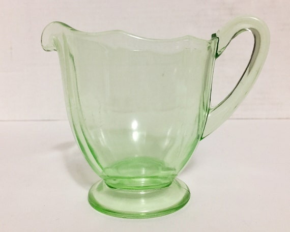 Vintage Fostoria Fairfax Green Creamer - Uranium Depression Glass - Green Elegant Glass