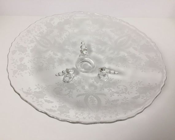 Three Footed Shallow Bowl - Vintage Viking Glass Prelude Etch Pattern - Serving Tray - Clear Crystal Etched Glass