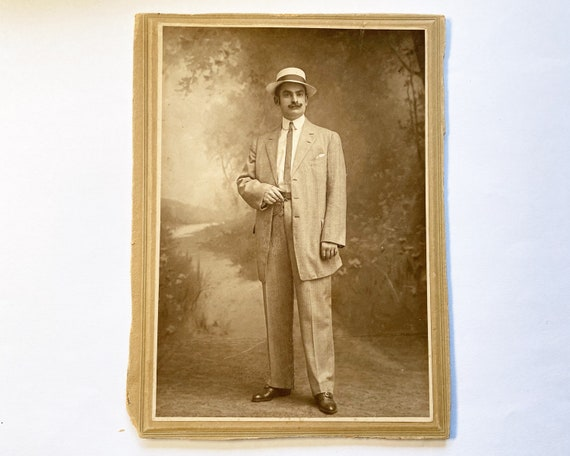 Antique Portrait of a Fashionable Man with Fantastic Handlebar Mustache