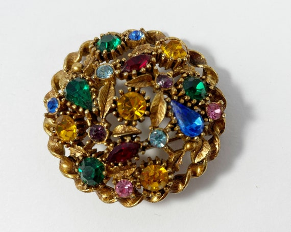 Vintage Multicolor Rhinestone with Gold Tone Leaves Brooch
