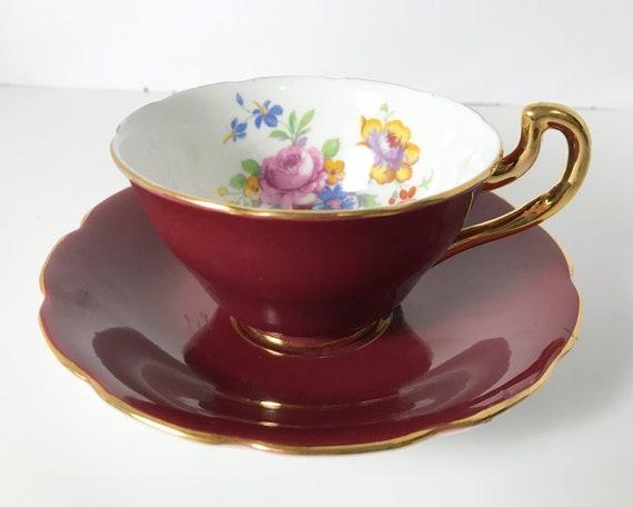 Vanderwood Genuine Bone China Burgundy and Floral Teacup and Saucer