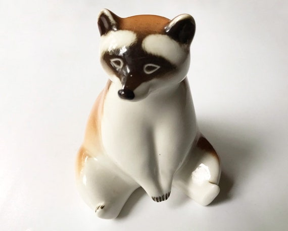 Vintage Lomonosov Raccoon Figurine - Vintage Imperial Porcelain Factory - Made in Russia