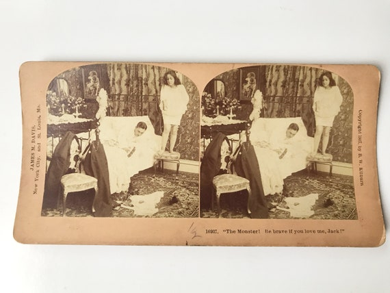 Antique B. W. Kilburn Sepia Stereoview - Naughty Humorous Mouse in the Bedroom - James M. Davis - Copyright 1907