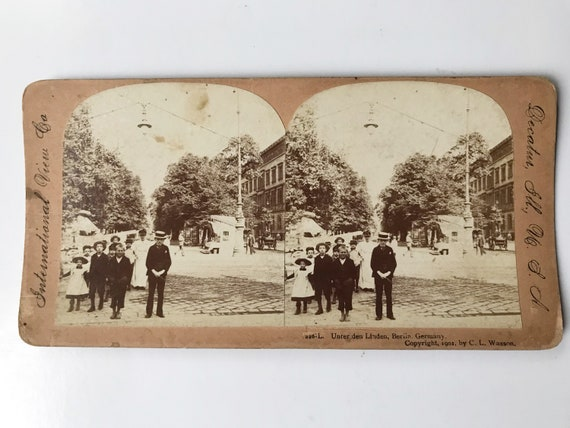 Antique International View Co. Sepia Stereoview - Unter den Linden, Berlin, Germany Copyright 1901 C. L. Wasson