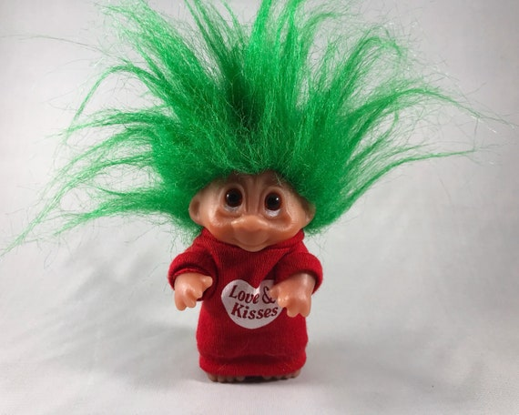 Vintage Norfin (Dam)Troll Doll - Green Hair with Love & Kisses Sweat Shirt