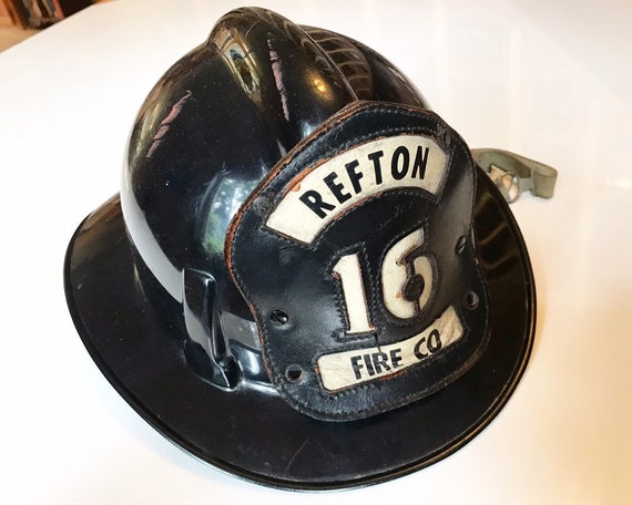 Vintage MSA Topgard Fireman's Helmet with Leather Shield - Refton Fire Company, Pennsylvania