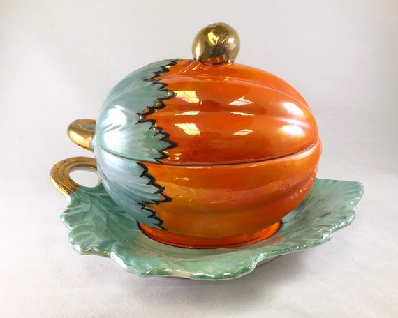 Vintage Lusterware Pumpkin or Orange Melon Lidded Condiment Bowl on Tray