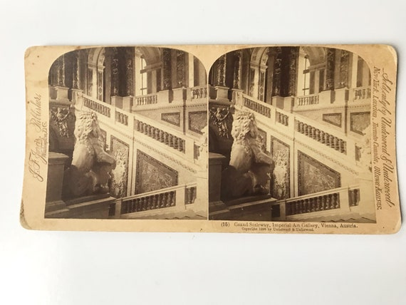 Antique Stereoview of Grand Staircase, Imperial Art Gallery, Vienna, Austria, J. F. Jarvis, Publishers, Copyright 1898