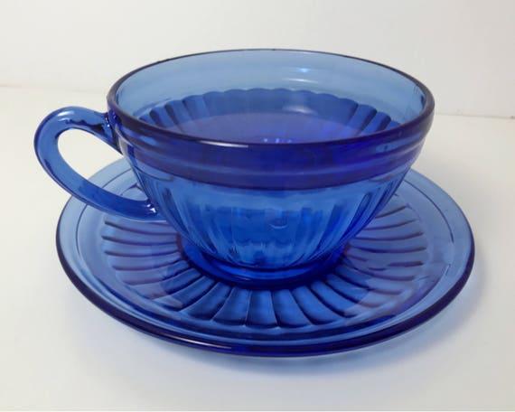 Vintage Hazel Atlas Aurora in Cobalt or Ritz Blue - Charming Blue Depression Glass Teacup and Saucer - Retro Kitchen