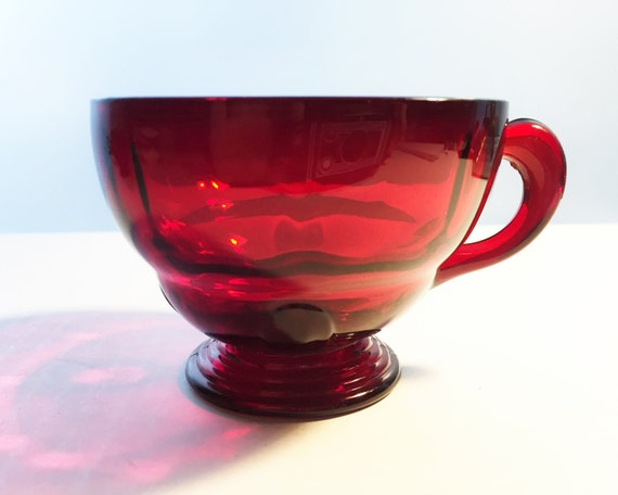New Martinsville Glass Ruby Moondrops Pattern Teacup - Gorgeous Red Depression Glass