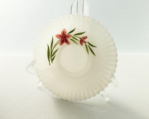 Vintage Depression Glass - Florette Petalware Saucer by Macbeth Evans - Monax White Opal Glass